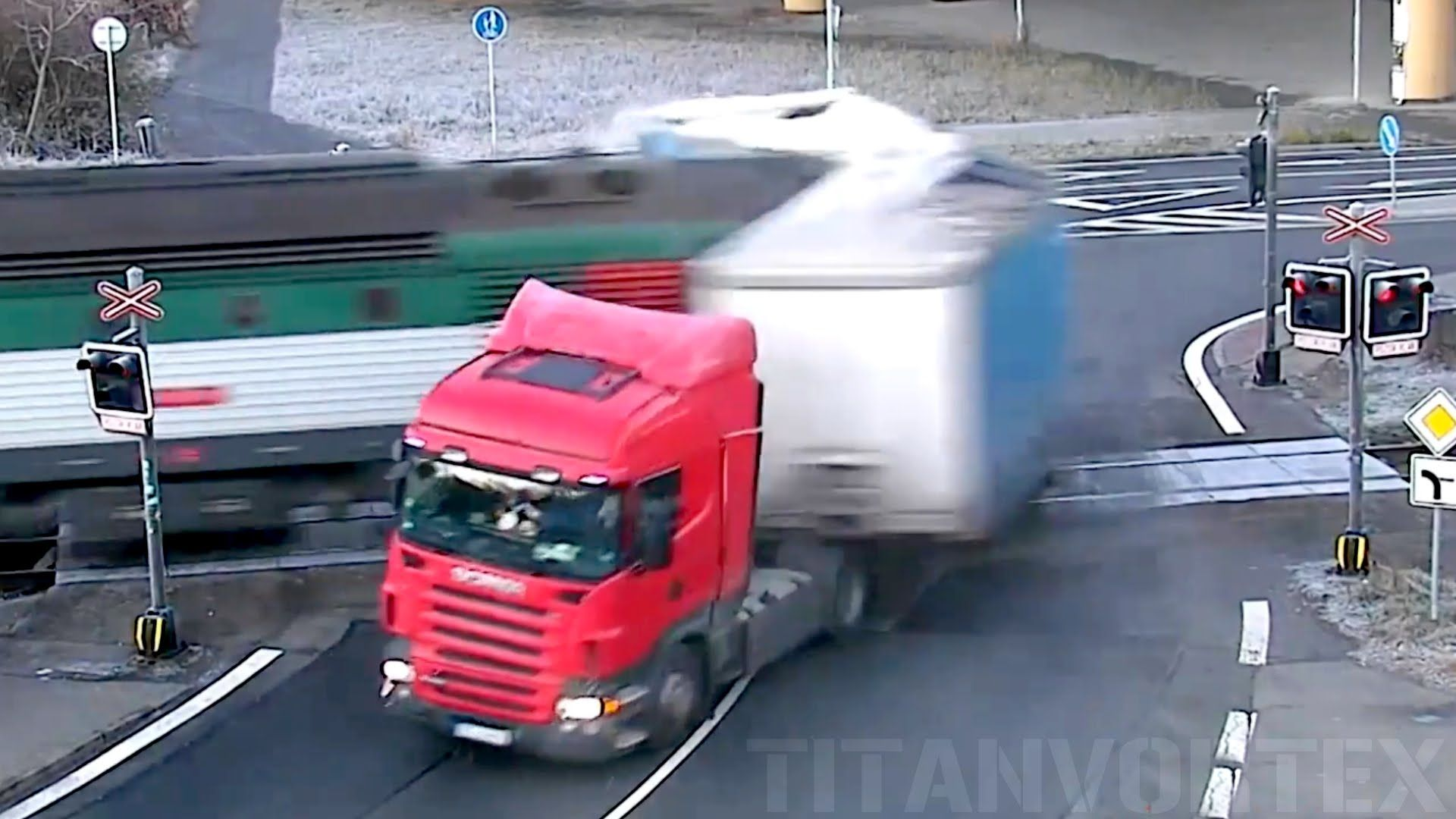 TRAIN SMASHES INTO TRACK