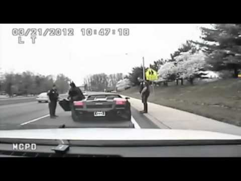 Police pull over Batman on Lamborghini batmobile