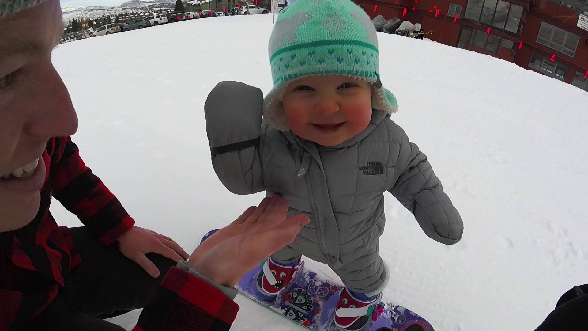The smallest, cutest 'snowboarder'!